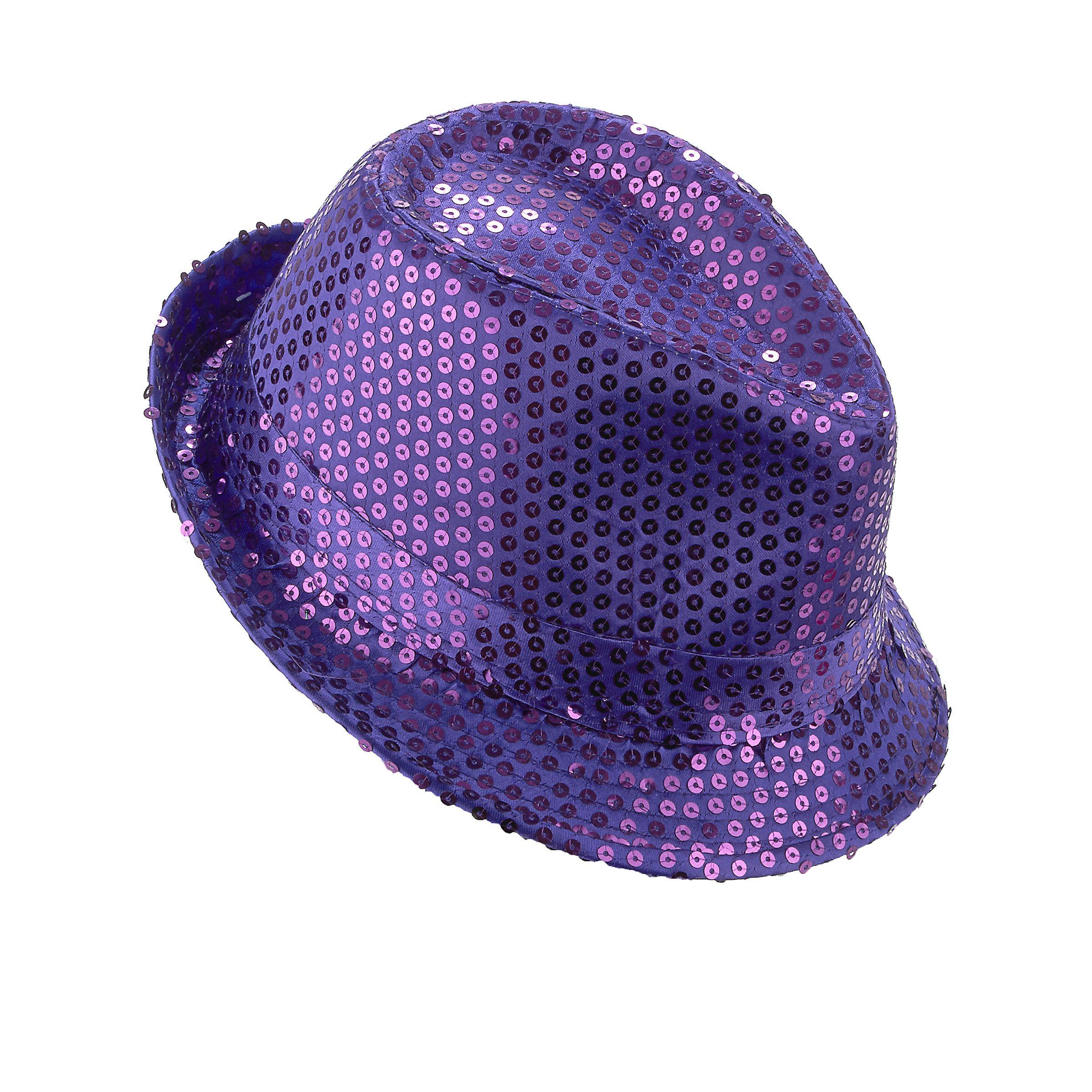 nouvelle collection prix raisonnable beauté Chapeau borsalino à sequins violet adulte